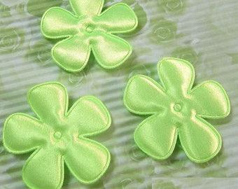 SET of 6 flowers 25mm Green neon applique embellishment 208