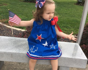Fourth of July pillowcase dress and hair bow, royal blue, red and white rick rack and red, white, and blue stars plus three letter monogram
