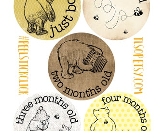 Winnie The Pooh Baby Month Stickers