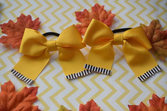 Pair of Yellow with Black and White tips Hair Ties - Kids / Toddlers / Girl pony tail holders / scrunchies / Flowergirls bow / Hairbands