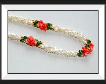 Freshwater Pearl and Coral Twisted Necklace.