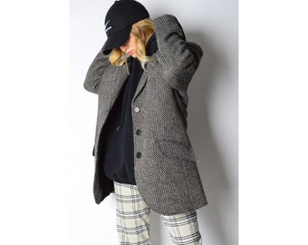 Vintage 90s Black And White Wool Blend Blazer Size M