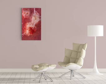 Bright Red Abstract ArtWork on Acrylic Museum quality Glass.  Large Modern Photography Stunning Colorful Photo Home  Office Wall Decor