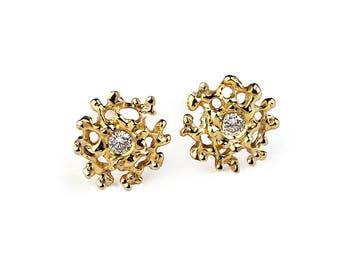 CORAL Gold Earrings, Gold Gemstone Earrings, Small Earrings Studs, Gold Stud Earrings, Small Gold Posts, Organic Earrings