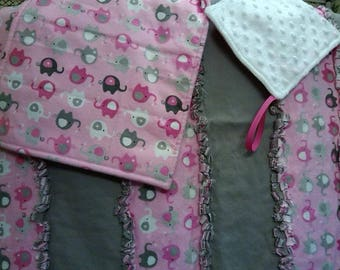 frayed flannel baby blanket, burp cloth and binky comfy cloth
