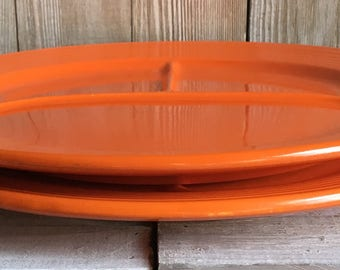 "Vintage Fiestaware 12"" Divided Plates - Red / ""Radioactive Red"""