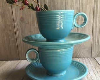 Vintage Fiesta - Turquoise Teacup & Saucer