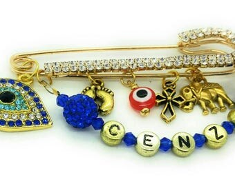 Baptism pin, christening pin, evil eye pin, personalized safety pin, cross pin, gold stroller pin, name pin, red and blue evil eye bead