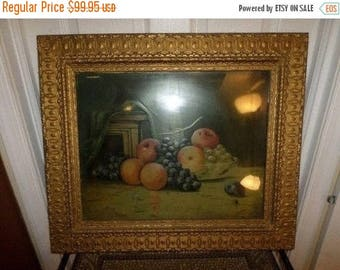 Save 25% Now Vintage 1800's Surreal Victorian Print Oranges Apples and Grapes 1872 Original Gold Victorian Frame