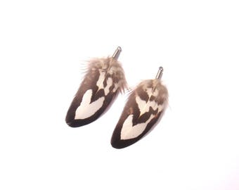 1 pair of natural feathers of pheasant height approx 55 mm pendants