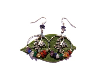 Animal Totem: Dragon and the 7 chakras. Earrings 5.5 cm in height