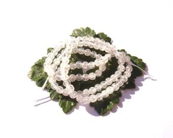 Crackle rock crystal: 10 beads 4 mm in diameter