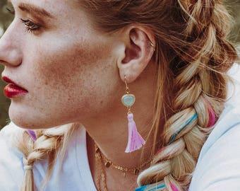 Earring pink tassel