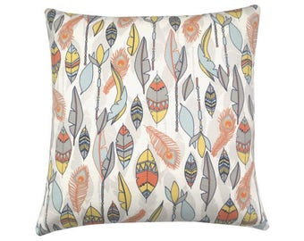 Pillowcase CHEYENNE Federprint nature orange yellow blue 40 x 40 cm
