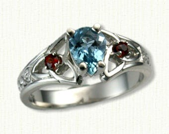 14kt White Gold Celtic Marishelle Style Engagement Ring- set with a AA 7 x 5 mm Pear Shaped Aquamarine and side Garnets