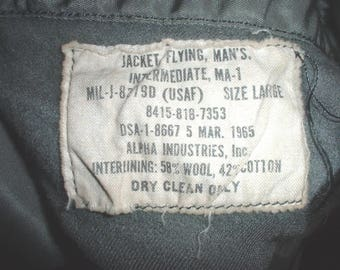 USAF US Air Force MA-1 intermediate weather flight jacket; Alpha 5 March 1965 size Large