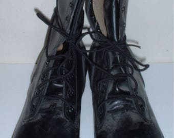"""US Military black leather """"combat"""" boots size 8 N (NARROW); Genesco 1977 unissued!"""