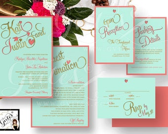 Coral and Gold Wedding Printable Invitation Set - Double Sided Invite Response Card, Reception Parking Details. Light turquoise and coral.