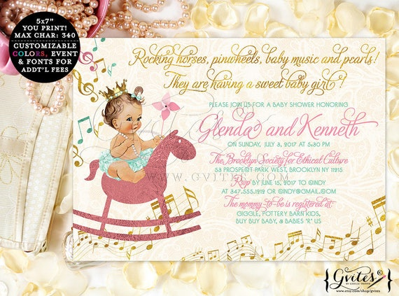 Pink and Gold Baby Shower Invitation, mint green gold, horses, pinwheels, baby music theme, diamonds pearls, pink gold cream mint green, 7x5