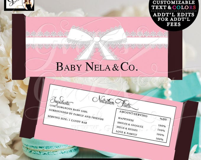 "Baby & Co Candy Bar Wrappers, GIRL BABY SHOWER, stickers, hershey bar chocolate, labels, printables {2 Per/Sheet 5.25 x 5.75""}"