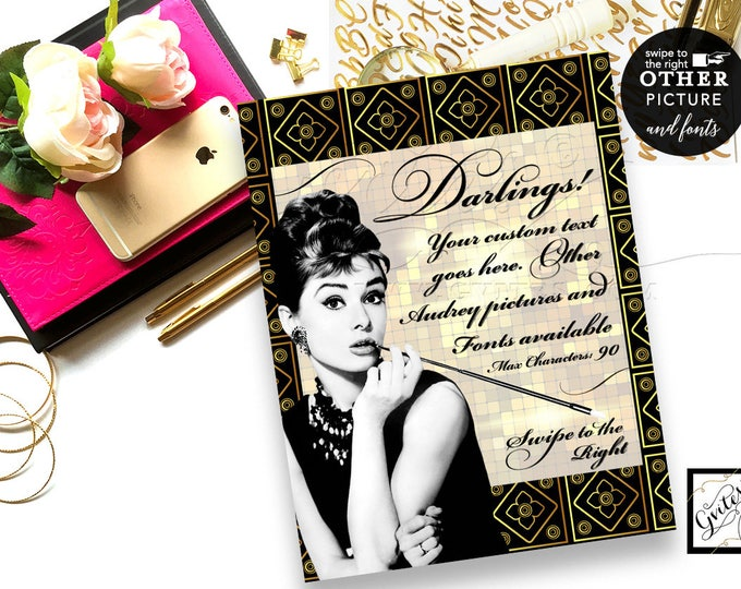 """Audrey Hepburn Great Gatsby Party Signs, 1920s party decoration, Customizable Text, Font & Audrey Picture, DIGITAL FILE ONLY! 8x10"""""""
