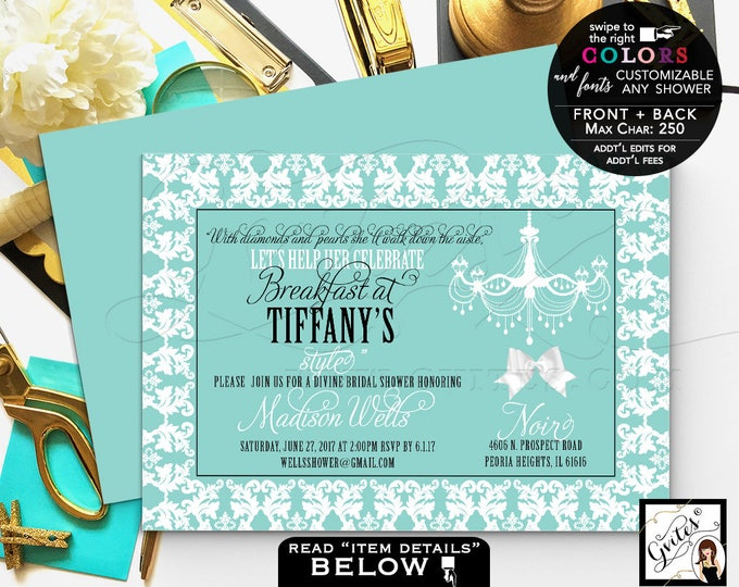 Breakfast at Tiffany's bridal shower invitation printable invites, diamonds and pearls, wedding shower, lingerie shower, DIGITAL.