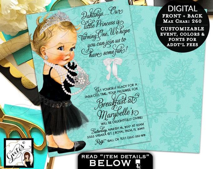 "Breakfast Baby Birthday Invitation, Princess First Invites, Blue Black Tutu Dress, Diamonds Pearls, Double Sided, DIGITAL 5x7"" Gvites"