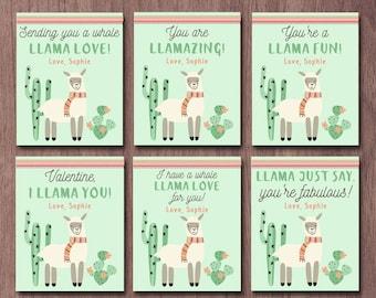 Llama Valentines Day Cards Kid Valentine Card School Alpaca Class Cactus  Llama You Whole Llama Love