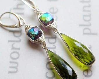 earrings, amethyst earrings, sterling silver earrings, peridot earrings, bohemian earrings, boho chic earrings, green earring, sterling