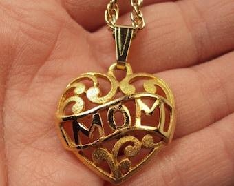 SALE Vintage Gold Tone Filigree Mom Heart Necklace