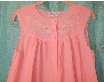 SALE 60s Peach Pink Long Nightgown