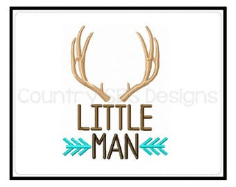 Little Man -  Antlers  and Arrows Custom Embroidery Design -INSTANT DOWNLOAD-