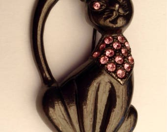 Black Cat Pink Rhinestone Brooch 1980's