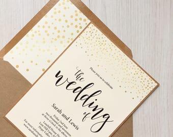 Rustic gold wedding invitation - rustic wedding invitation - rustic wedding invitation bundle - gold confetti wedding invitation