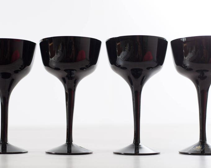 Scandinavian Black Coupe Glasses / Set of 4 Royal Krona Älghult Glasbruk Made in Sweden Cocktail Aperitif Glassware Barware Art Glass