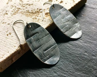 Silver oval drop earrings