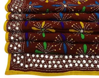 Free Shipping Vintage Dupatta Phulkari Scarf Embroidered Georgette Women Wrap Drape Brown Fabric Stole DPP644