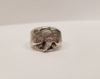 Sterling Silver Franklin Mint Eagle Ring