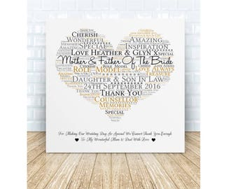 Mother & Father of the Bride * Mother and Father of the Groom Ceramic Plaque. Wedding Thank You Gift. Personalised