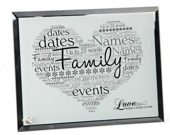 Family Personalised Word Art Glass Plaque