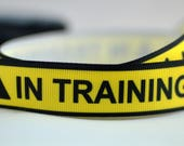 "In Training Yellow Black Tape Caution Dog Pet Grosgrain Ribbon 7/8 "" Wide Scrapbooking HairBows Parties  AZ92617"