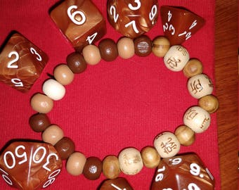 Wood Grain - 7 Die Polyhedral Set with Pouch and Bracelet