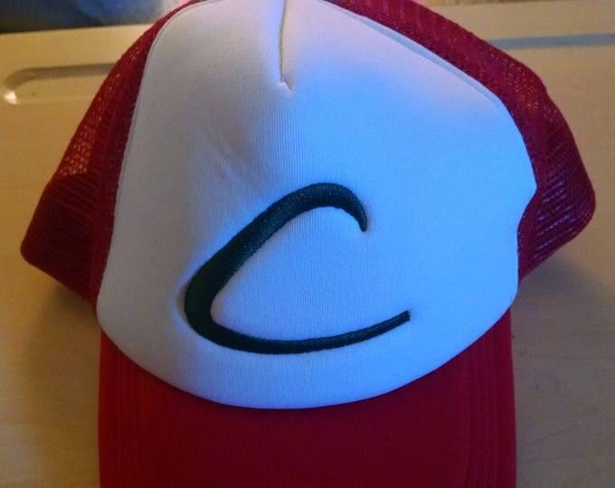 Baseball Cap - Pokemon Trainer Hat - Green on White