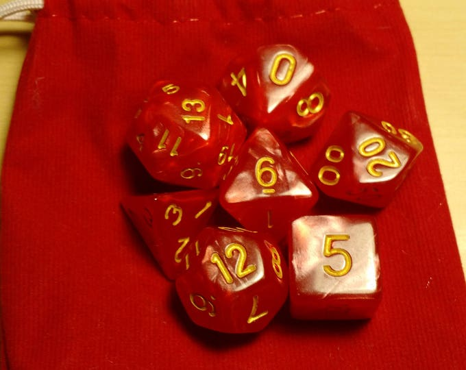 Rose Gold - 7 Die Polyhedral Set with Pouch