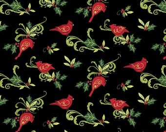 Christmas Fabric Christmas Cardinal Swirl With Holly Fabric From Springs Creative By Susan Winget