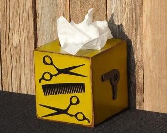 Scissors Hair Stylist Tissue Barber Tissue Box Beauty Shop Decor Bathroom Decor Wooden Tissue Box Wood Kleenex Box Tissue Box READY TO SHIP