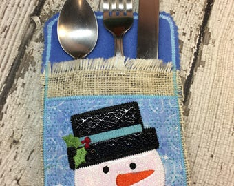 Snowman - Silverware Holder - Christmas - 4 x 4 and 5 x 7 - Digital Embroidery Design
