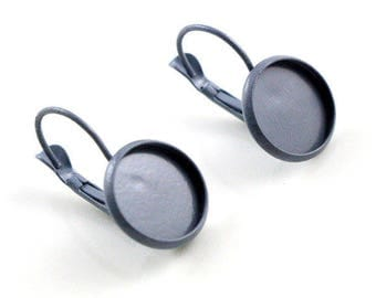 Supports 2 X gray earrings 12mm cabochon