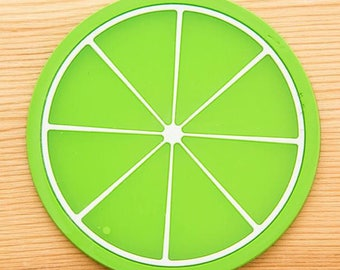 X 1 lime green rondelle silicone coaster