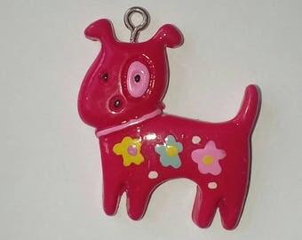 Red Dog with his black eye 1 X pink kawaii